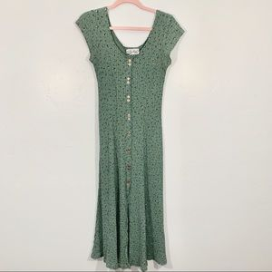 Vintage | 90's Green Floral Button Front Maxi